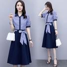 VK精品服飾 韓系時尚條紋襯衫純色半身裙...