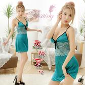 珊瑚綠 2件式舒適柔緞鏤空蕾絲細肩帶睡衣 連身洋裝【女王性感精品】情趣用品