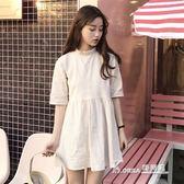 韓版花邊立領中長款寬鬆連身裙高腰學生裙子 【米蘭街頭】