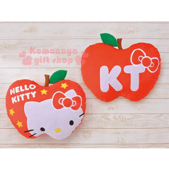 〔小禮堂〕Hello Kitty 蘋果型抱枕《大.紅.大臉.星星》4983164-12796