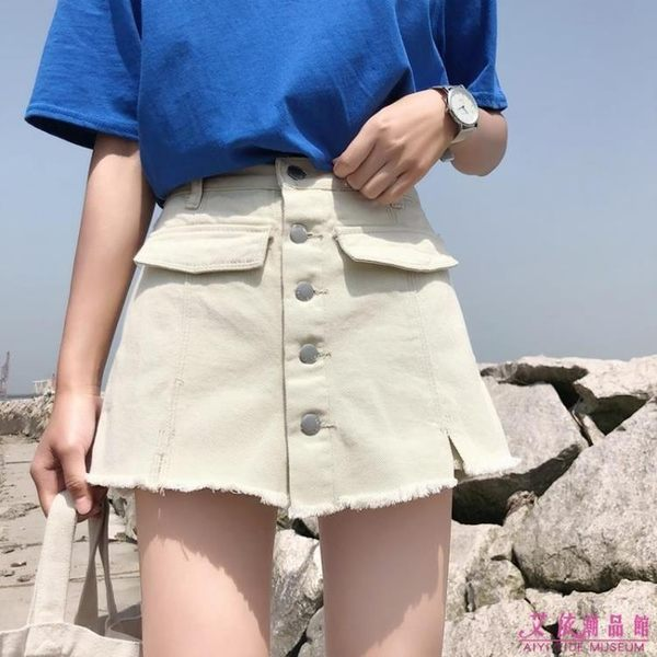 褲裙 韓版寬鬆百搭假兩件高腰顯瘦a字牛仔裙(2色/S-XL)