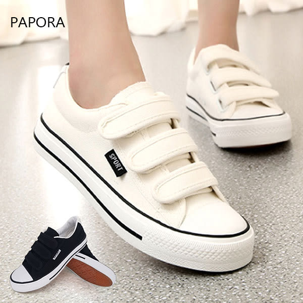 休閒鞋魔術帶款帆布小白鞋【KA02】黑/白