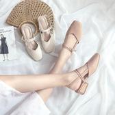 包頭涼鞋女仙女風中跟學生韓版百搭方頭粗跟單鞋    蘑菇屋小街
