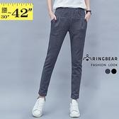 九分褲--修身遮肉鬆緊腰間車褶雙口袋窄管休閒長褲(黑.灰XL-4L)-P127眼圈熊中大尺碼◎