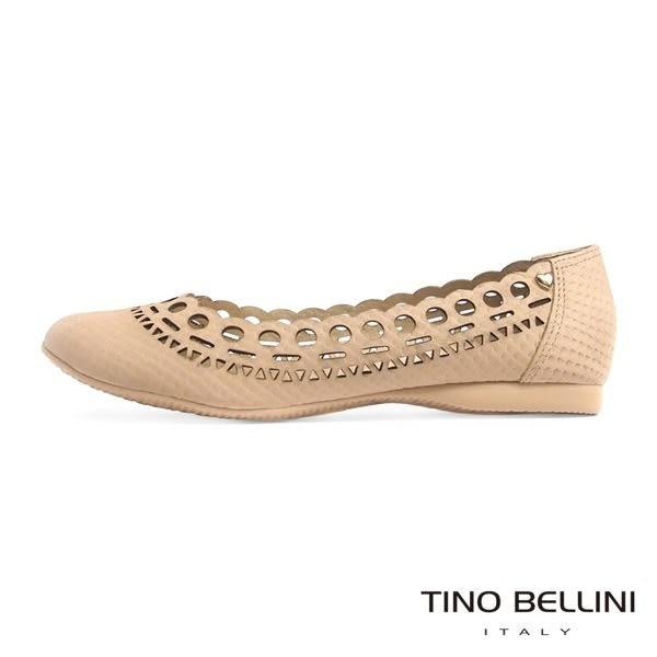 Tino Bellini 巴西進口浪漫鏤空輪廓舒適娃娃鞋(淺駝)_C63006  2016SS 歐洲進口款