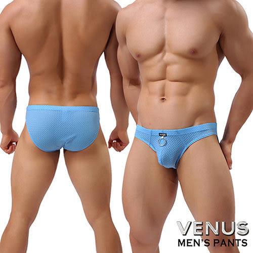 情趣用品 調情內褲情趣內褲男同志 VENUS 透氣網孔 男士內褲性感三角褲 藍