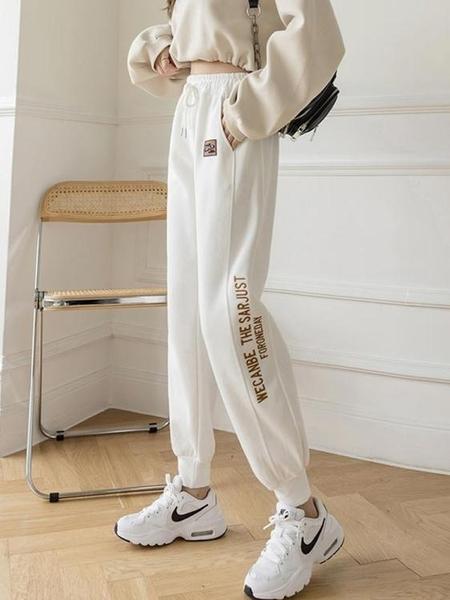 運動褲 白色運動束腳衛褲春季新款潮歐洲站歐貨女褲顯瘦縮腿衛衣褲 快速出貨