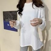 秋冬新款韓版純色中長款寬鬆白色打底衫上衣內搭長袖T恤女潮 雅楓居