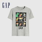 Gap男童 Logo卡通印花短袖T恤 886969-淺灰色