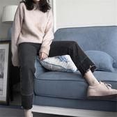 牛仔褲寬鬆女韓版復古學生bf百搭高腰顯瘦褲腳拼色直筒褲休閒長褲