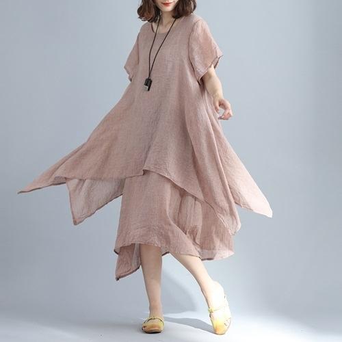 短袖連身裙-假兩件純色寬鬆不規則女洋裝3色73xz47【巴黎精品】