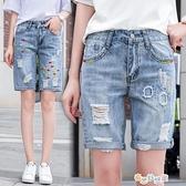【雙十一狂歡】 五分褲牛仔五分褲女夏高腰寬鬆直筒褲繡花顯瘦牛仔短褲破洞闊腿學生中褲