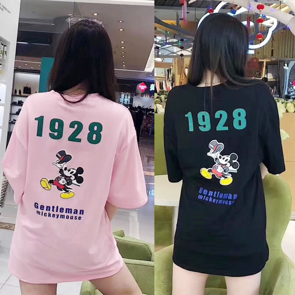 BOBO小中大尺碼【8325】寬版字母紳士卡通鼠短袖長版T恤 共3色
