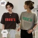 EASON SHOP(GQ1014)韓版原宿風撞色數字字母印花落肩寬鬆圓領五分短袖素色棉T恤女上衣服寬版閨蜜裝灰