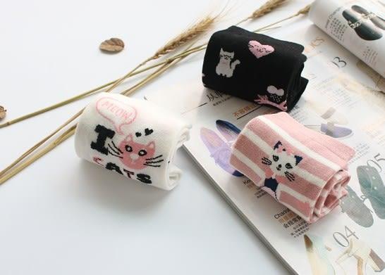 [協貿國際]春秋女生卡通可愛貓咪全棉短襪