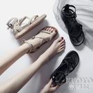 2021新款百搭一字扣夾腳涼鞋女夏季厚底鬆糕鞋仙女學生平底羅馬鞋 快速出貨