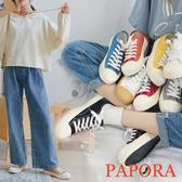 夯爆奶茶款 現貨 PAPORA 學生餅乾鞋多選擇綁帶休閒平底帆布鞋86