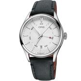 Oris豪利時 Artelier 指針式日曆星期機械錶-銀x黑色錶帶/40mm 0175577424051-0752134FC