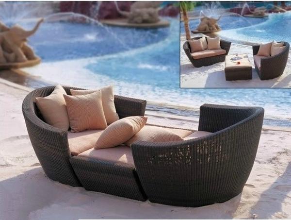 【南洋風休閒傢俱】戶外沙發躺椅系列-戶外編藤沙發躺椅組 海灘 游泳池 中庭陽台休閒躺椅沙發