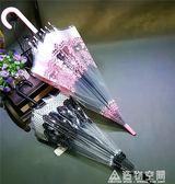 日本創意清新印花蕾絲巨抗水透明雨傘巴洛克風美傘粉色玫瑰傘 NMS造物空間