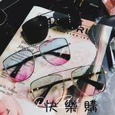 旅游海邊淺色墨鏡多彩太陽鏡圓臉眼鏡