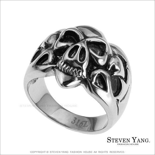 戒指 西德鋼飾「超酷骷髏頭鋼戒」送單面刻字 街頭嘻哈風
