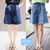 【V1112】shiny藍格子-簡約休閒.百搭高腰設計毛邊牛仔五分褲