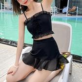 二/三件式泳裝 2021新款游泳衣女 溫泉度假小胸韓國保守 顯瘦黑色遮肉ins風仙女範