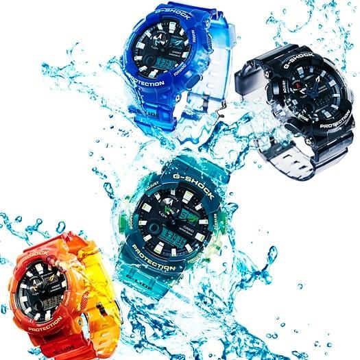 【台南 時代鐘錶 CASIO】G-SHOCK 宏崑公司貨 GAX-100MSA-3A 果凍新色系 強悍機能雙顯運動錶