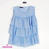 【SHOWCASE】休閒皺紗蛋糕層次上衣(藍)