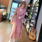 時尚甜美氣質洋裝春裝新款V領綁帶修身網紗...