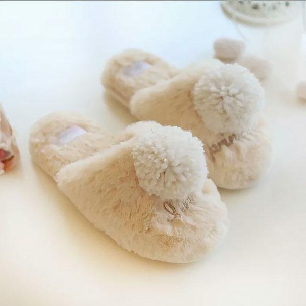 室內拖-日系超可愛大絨球球加厚鋪絨保暖防滑室內拖鞋 【AN SHOP】