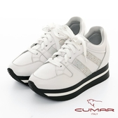 【CUMAR】休閒主義 - 簡約休閒側邊燙鑽綁帶多層次厚底休閒鞋(白色)