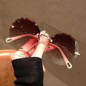 新款無邊框水晶切邊太陽鏡