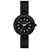 DKNY 魅力潮流時尚陶瓷腕錶(黑)