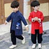 男童唐裝漢服套裝兒童古裝男孩中大童裝復古秋冬季中國風棉麻兩件套 LR13966【優品良鋪】