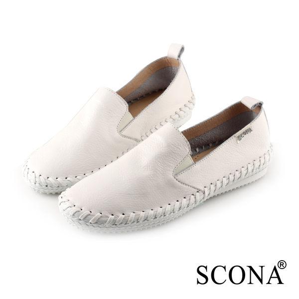 SCONA 蘇格南 全真皮 樂活舒適縫線休閒鞋 白色 7277-1