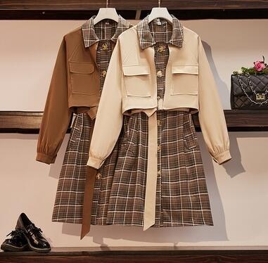 洋裝 連身裙 杏色2XL大尺碼女裝新款秋裝時尚格子拼接假兩件胖妹妹連身裙收腰 F4053紅粉佳人