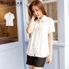 襯衫--貴族般的浪漫情懷胸前壓摺蕾絲設計公主袖襯衫(白M-2L)-H93眼圈熊中大尺碼