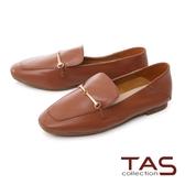 TAS 一字金屬釦羊皮樂福鞋–棕咖