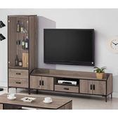 【森可家居】瑪蒂古橡木8尺L櫃 8SB194-3 展示 電視櫃 高低櫃