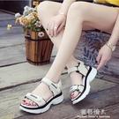 新款運動涼鞋女夏季韓版時尚厚底學生百搭魔術貼女鞋子 完美情人