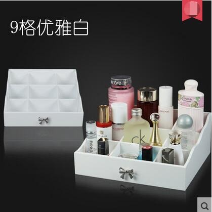 特木質化妝品收納盒 創意桌面儲物盒整理櫃 梳妝台收納架