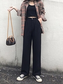 高腰寬褲女2021秋季新款垂感寬鬆百搭黑色顯瘦西裝直筒拖地長褲 米娜小鋪