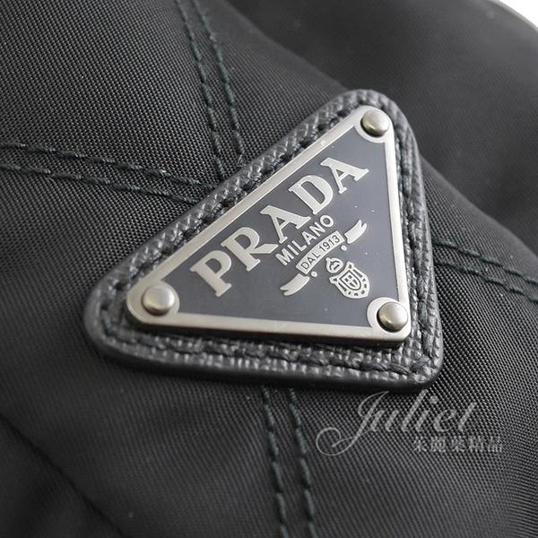 茱麗葉精品【全新現貨】PRADA 2VH022 經典三角LOGO菱格紋中性直式斜背包.黑
