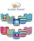 [Mamae](5件/組)Luvable Friends 男女童PEVA環保透明完全防水圍兜 可愛動物圖案 猴子 兒童吃飯衣