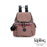 Kipling 紅褐火柴棒幾何圖騰拉鍊掀蓋後背包-CITY PACK MINI