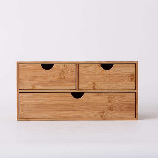 竹意橫式三抽收納盒-生活工場