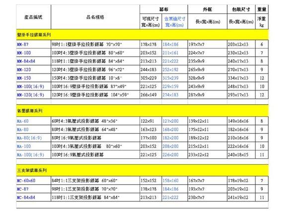 """卡色式 CASOS 手拉式蓆白布幕 壁掛布幕、投影布幕、手拉銀幕87.5吋 70"""" X 70"""" ( MM-87 )"""