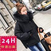 梨卡★現貨 - 韓國空運甜美大毛領寬鬆短款防風羽絨鋪棉連帽軍裝大衣風衣外套A448